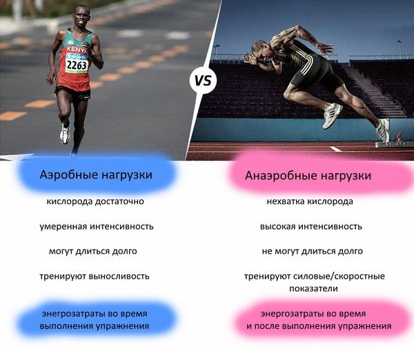 аэробными и анаэробными упражнениями