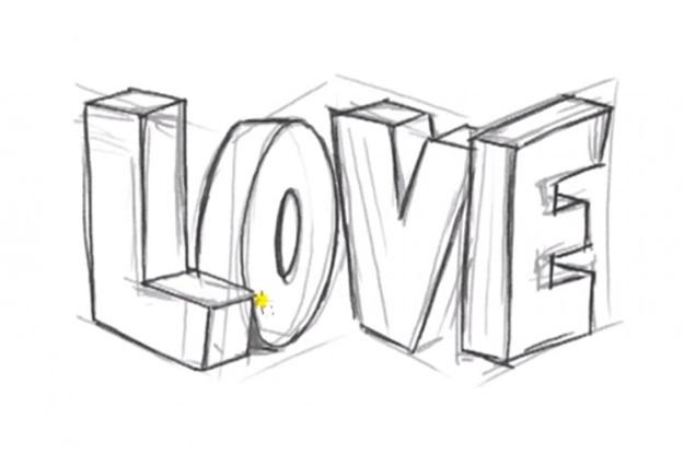 love надпись нарисовать карандашом