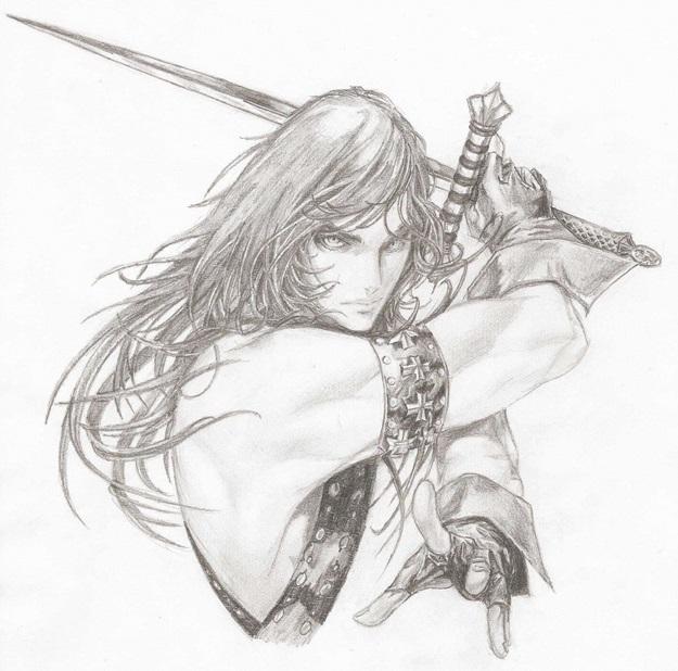 воин с мечом нарисовать карандашом