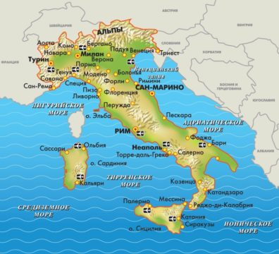 карта Италии фото